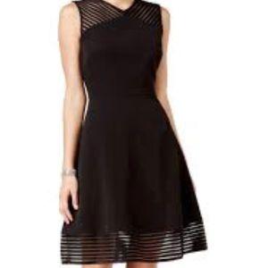 Tahari ASL Black Fit & Flare Dress Size12